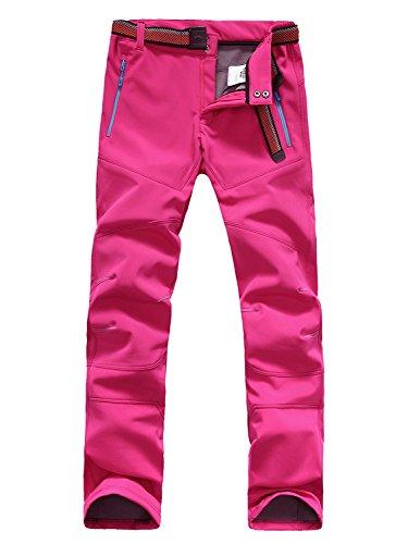 Minetom Femme Hiver Doublé Pantalon Softshell Breathable Soft Shell Climbing Trousers Imperméable Coupe-Vent Randonnée Trekking Sports Pants Rose Vif EU XS