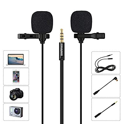Lav Mic Dual Head, Szeshineco Lavalier Microphone 3.5mm Omnidirectional Condenser Clip-on Mic Set for Smartphone, Laptop, PC, Camera and more