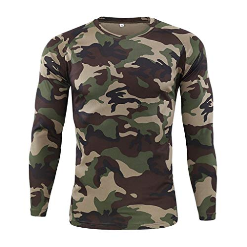 HEETEY Camisa para hombre al aire libre, secado rpido, camuflaje, manga larga, camiseta tctica, montaismo, de secado rpido, de manga larga camuflaje. XL