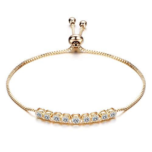 BJINUIY Pulsera de circón con Incrustaciones de aleación Exquisita, Pulsera de Tirador de Cristal Central Exquisita, Estilo Ajustable de Mujer 26 * 1.2 cm de Oro