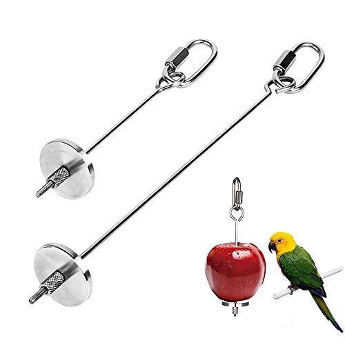 zfdg Vogel Futtersuche Spielzeug, 2 Stück Papageien Spieße Edelstahl, Papagei Obst Spieß, Papageien Futtersuche Spielzeug, für Vogelkäfig Zubehör Papagei Gemüse Obst Werkzeug (Edelstahl)