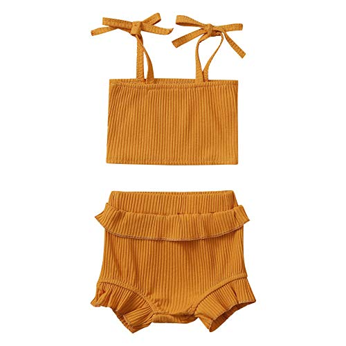 Julhold Conjunto de ropa para recién nacido, 2 piezas, tiras acanaladas para colgar sin tirantes, pantalones cortos