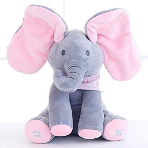 KINGEE-T Elefante de Peluche de Juguete Canciones de Canto Música Ani
