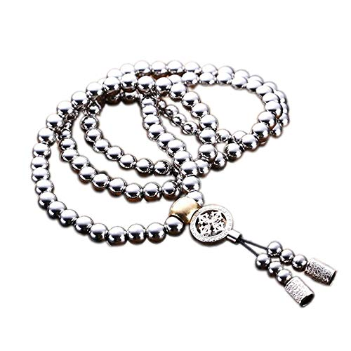 urjipstore Tactical Buddha Bead Bracelet Stainless Steel Car Pendant Accessory Outdoor Self-Defense Protection Survival Necklace