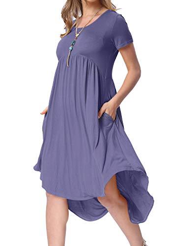Levaca Womens Short Sleeve Scoop Neck Flowy Loose Casual Midi Dress Daybreak XL
