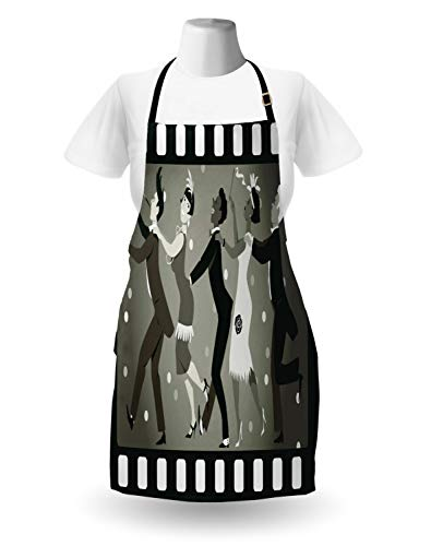 Lunarable Retro Apron by, Old Fashioned People at A Party in Vintage 1920s Fashion Dancing Theatrical Film Design, Unisex Kitchen Bib Apron with Adjustable Neck for Cooking Baking Gardening, Taupe