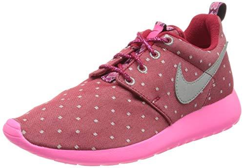 Nike Rosherun Print GS 677784-606, Scarpe da Ginnastica Basse Unisex-Adulto, Drk Red Mtllc Slvr Pnk PW White, 38 EU