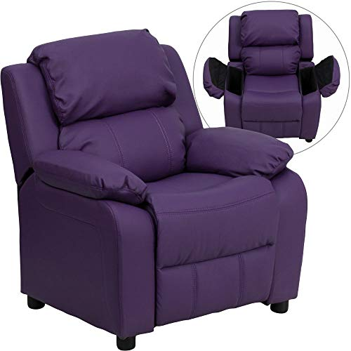 Flash Furniture Deluxe Padded Contemporary Purple Vinyl Kids Recliner...