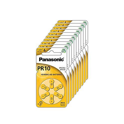 Panasonic PR10 Batterie zinco-aria per apparecchi acustici, Tipo 10, 1.4V, Batterie per apparecchi acustici, 10 confezioni (60 pezzi), gialle