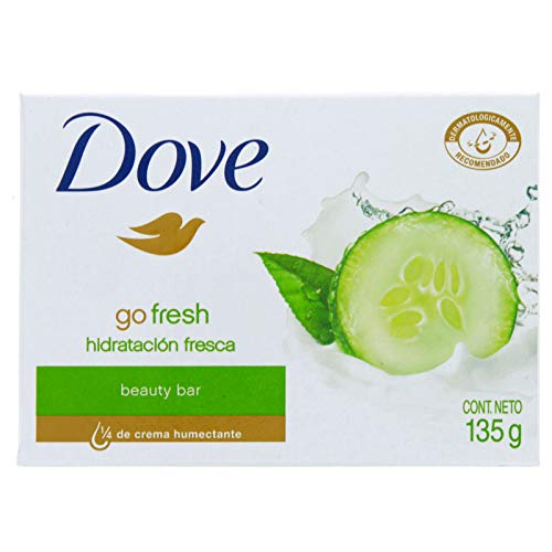 Dove Beauty Bar Soap Go Fresh Cool Moisture, Cucumber and Green Tea Scent, 4.75 Oz / 135 Gr (Pack of 12)