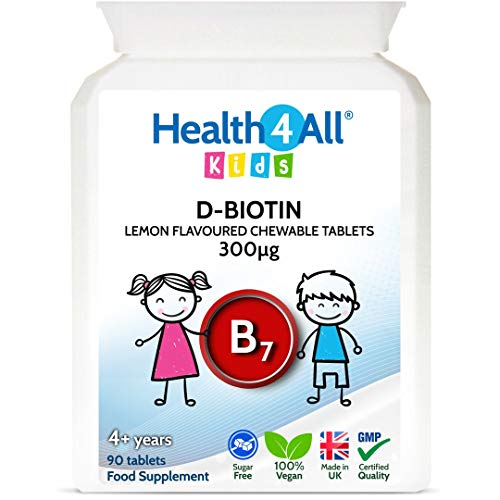 Kids D-Biotin 90 Tablets Natural Vegan Hair Growth and Strong Nails Supplement for Children Made in The UK by Health4All