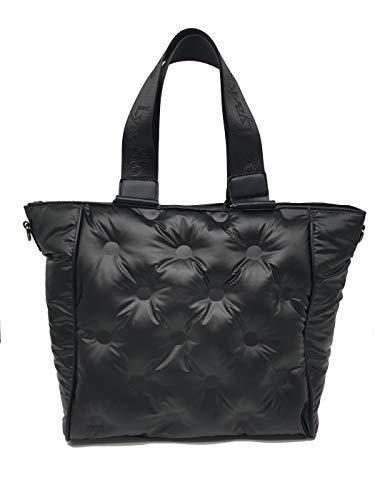 Lya-Klo Shopper donna trapuntata - morbida e capiente con chiusura zip - borsa in nylon imbottito (nero)