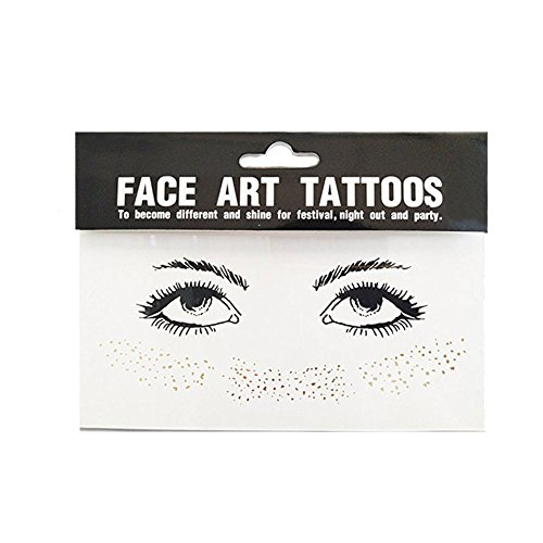 Yuccer Face Sticker, Temporäre Stickers Gesicht Aufkleber Face Tattoo für Augen Gesicht Party Festival Shows Gold 2 Stück (Gold)