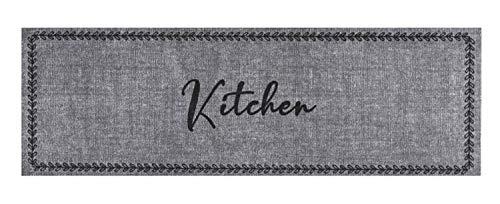 Bavaria-Home-Style-Collection- – Rutschfester und waschbarer Design Küchenläufer | 50 x 150 cm | Motiv: Kitchen Grau