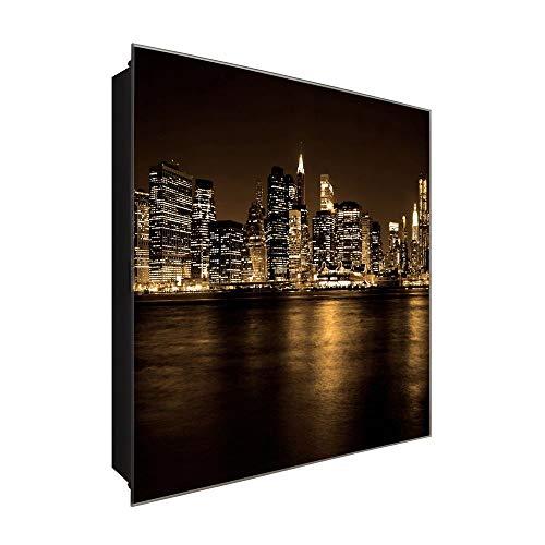 DekoGlas Armoire à clés « New York City Night » en verre avec crochets 30 x 30 cm