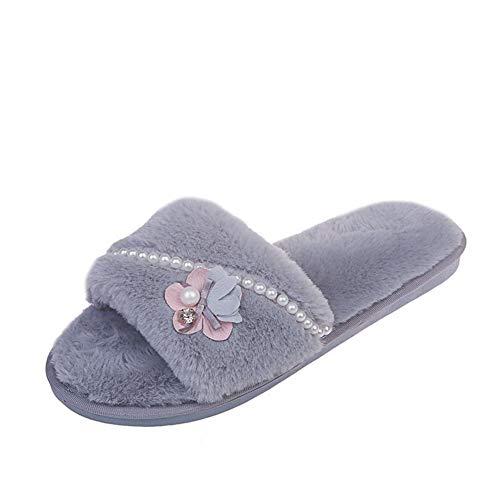 Frauen-Open-Toed Pantoffeln Bequeme Schleife Futter, EIN-Schritt-Hauptschuhe Mode Rutschfesten Gummisohle, Innen- Und Außen,Grau,39