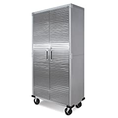 "Set of 4 5"" Wheels (2 wheels with brakes) included Stainless Steel Segmented Doors Dimensions: 36"" W x 18"" D x 72"" H Weight Capacity: 600 lbs total, 150 lbs for each shelf Powder Coated Steel Frame"