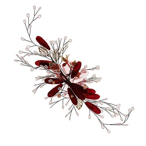 FRCOLOR Flor Do Casamento Flor Grampos de Cabelo Grampos de Cabelo Grampos Laterais Chinês Qipao Hanfu Cabelo Pinos Acessório de Cabelo Vermelho