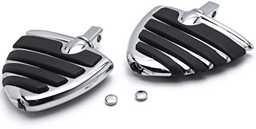 Brand Cheap Sale Venue Krator Shipping included Chrome Motorcycle Wing Foot Compatible Pegs Footrests L+R
