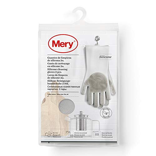 Mery Rayen   Guantes de lmpieza   De Silicona Raya   Elimina la Suciedad   Material Flexible, Gris Claro, Medidas: 34,5 x 15,5 x 2,6 cm – Talla Única