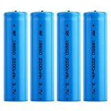 4Pcs 18650 Rechargeable Battery Lithium 3.7V 2200mah Large Capacity Rechargeable Batteries Button Top Batteries 18650 Batteries for Flashlights Torch Camera Electronic Tool Power Bank (Blue)