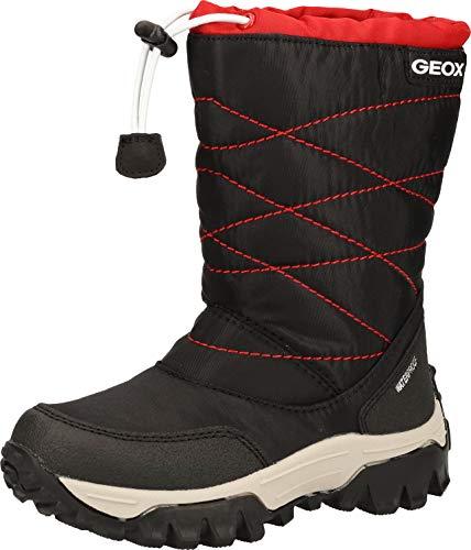 Geox Niños Botas Himalaya Boy WPF,Chico Botas de Nieve,Invierno,Canadienses,Caliente,Forrada,Impermeable,Removable Insole,Black/Red,39 EU/6 UK