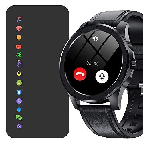 HCHL Reloj Inteligente Multifuncional Deportivo para Hombre con Reloj electrónico mecánico (Color : Black Leather Belt)