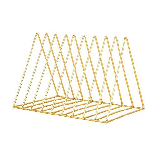 Garosa Eisen Dreieck Bücherregal Premium Desktop Organizer Lagerregal Bücherregal Zeitschriftenhalter für Büro oder als Dekoration(Gold)