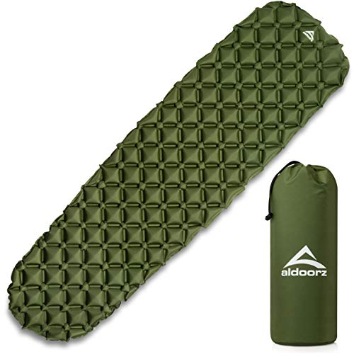 Aldoorz Camping Sleeping Pad – Ultralight, Inflatable, Air Mattress - Best Sleeping Pads for Backpacking, Camping and Hiking Includes Compact Carrying Bag – Lightweight Camp Sleep Mat & Repair Kit