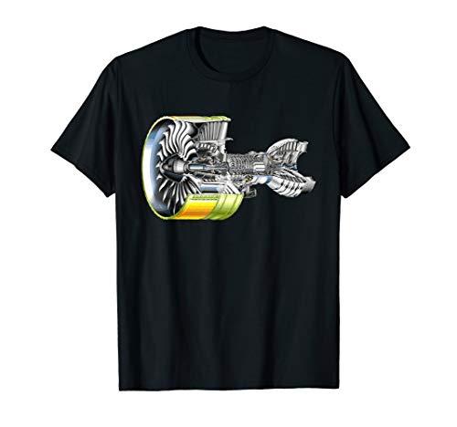 Flugzeug-Strahltriebwerk Realistischer Flugzeugpilot T-Shirt