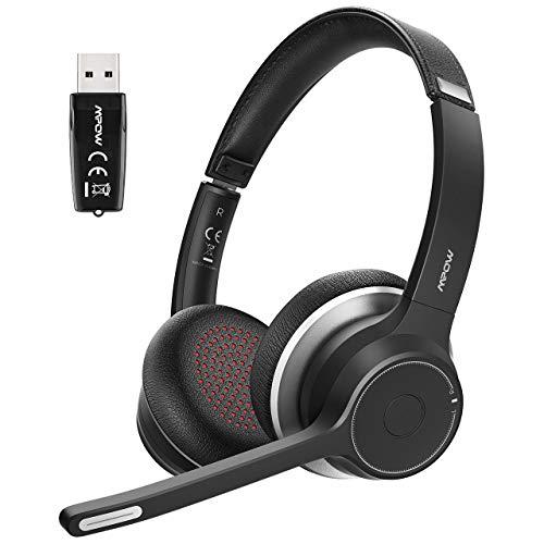Mpow Auriculares Bluetooth V5.0 con Adaptador, Auriculares Inalámbricos para PC con Micrófono Dual, Cancelación de Ruido cVc8.0, Auriculares para Computadora, Teléfono Celular, Skype(Cable Opcional)