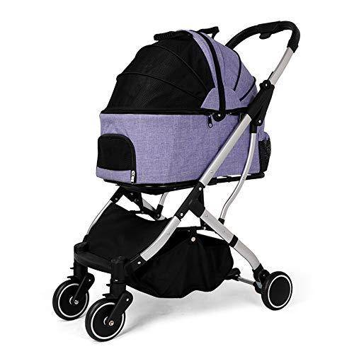 ZWW kinderwagen voor huisdieren, opvouwbare reiswieg met afneembare draagtas/opbergmand voor katten en honden tot 20 kg
