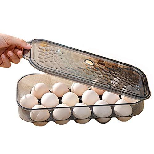 AMACOAM Eierbox Eieraufbewahrungsbox Eierbehälter für Kühlschrank Kunststoff Kühlschrank Eiereinsatz für 16 Eier mit Deckel Stapelbar Kühlschrank Organizer zum Schutz und Frischhalten von Eiern