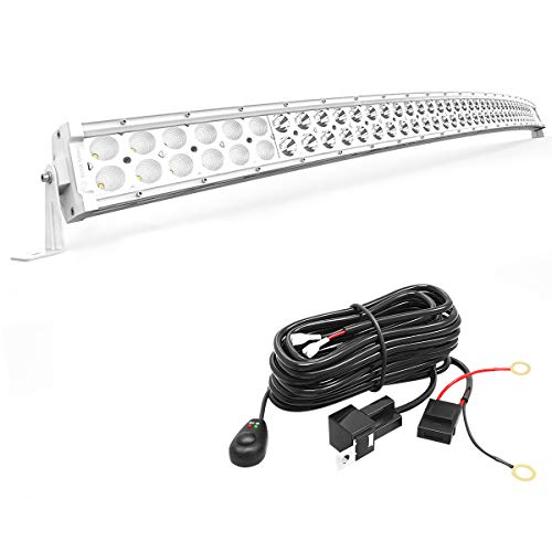 YITAMOTOR 288W White 50 inches Curved Bar Off Road Spot Flood Combo Led Work Light with Wiring Harness Compatible for Pickup, Jeep, Ford, Truck, SUV, ATV, UTV, 4X4