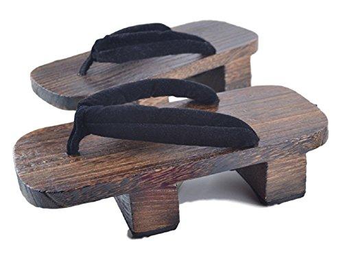 GK-O Herren Japanische Traditionelle Schuhe Geta Holz-Clogs Sandalen, Schwarz (schwarz), 41 EU
