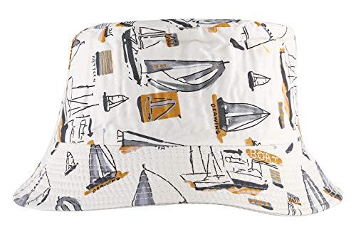 ZLYC Cappello da pescatore unisex, stampa con motivo floreale Barca a vela Bianco Taglia unica