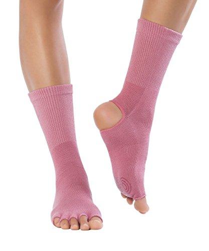 Knitido Yoga Flow   Calcetines de dedos separados y sin talón para yoga, Talla:35-38, Colores:Coral (012)