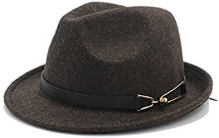SGJFZD for Gentleman Sombrero Cap Elegant Lady Trilby Church Derby Cloche Sun Cap Unisex 100% Wool Women Men Chapeau Femme Fedora Hat (Color : Coffee, Size : 57-58cm)