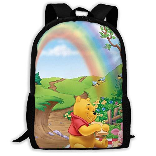 MUUQ Erwachsener Rucksack Custom Winnie Pooh Rainbow Casual Backpack School Bag Travel Daypack Gift