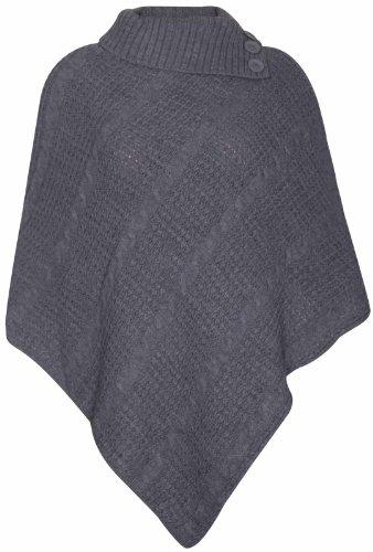 Purple Hanger Damen Cape-Schal Langer Strickpullover mit Rollkragen gefalteter Jumper Damen-Poncho Top Einheitsgröße - Einheitsgröße, Dunkelgrau