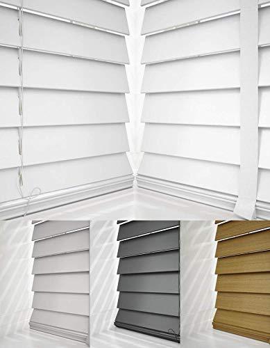 First Jalousien Jalousie, Holz, Weiß, mit Bändern, 50 mm Lamellen, holz, weiß, 75 cm Width x 180cm Drop