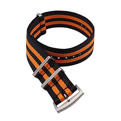 Correas NATO de Nylon. Cinturón de Seguridad. Correa de Reloj de Resistente Diseño Militar Tamaños (18mm, 20mm, 22mm) (20mm, Negro-Naranja Rayas)