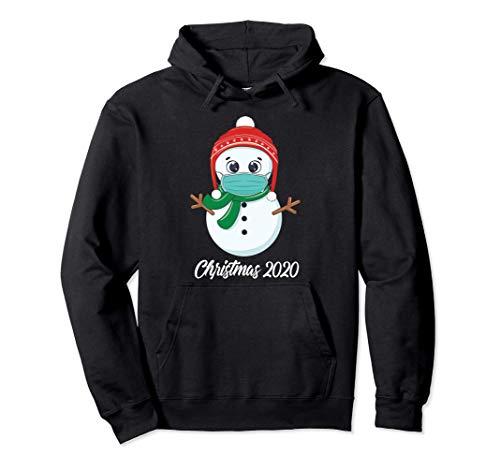 Christmas 2020 quarantine mask cute snowman wearing mask kid Sudadera con Capucha