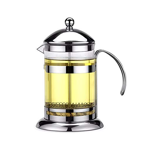 DEI QI Edelstahl French Press Kaffeekanne Machine Maker Glasteekanne mit Siebfilter Reliever Travel Wasserkocher Kaffeemaschine (Size : 600ml)