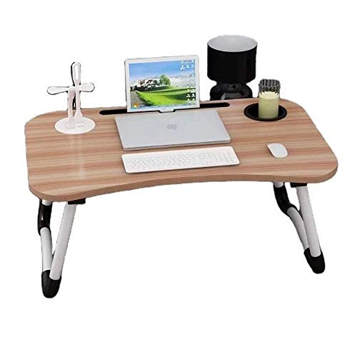 BJI Furniture Child Study Portable Standing Bed Desk, Hospital Breakfast Serving Bed Tray, Foldable Laptop Table, Notebook Computer Stand Reading Holder for Couch Floor (Small Desk Natural Color)