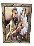Jesus El Buen Pastor Imagen Cuadro Rustico De Madera 13'x18', Nuevo