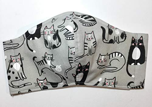 Gray Black Kitty Cat Face Mask, yarn milk paws tabby tuxedo, triple layer 100% cotton cloth, nose wire filter pocket washable, adjustable around Head elastic fabric tie, unisex man woman child girl