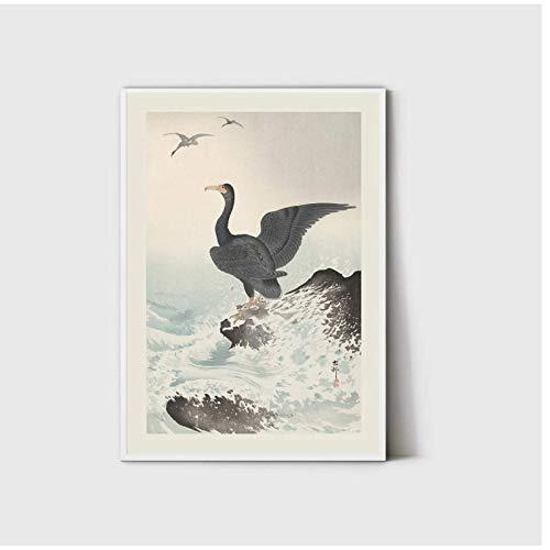 Impresión de pájaro de la grúa de Japón, cartel de arte