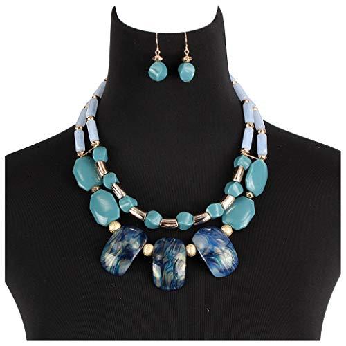 YJPDPYSH Creatieve kralen handgemaakte ketting oorbellen set, sleutelbeen ketting, m Afrikaanse stijl kralen ketting
