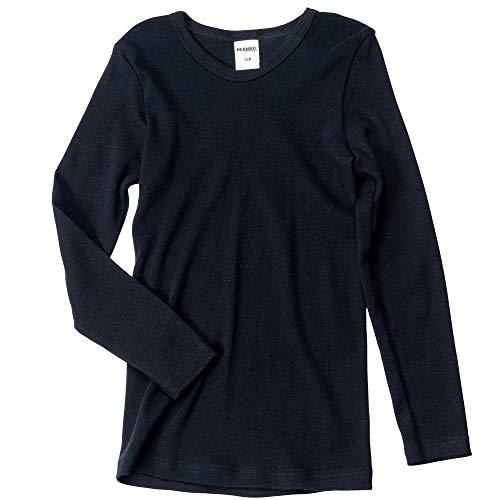HERMKO 2830 Kinder Langarm Shirt aus 100% Bio-Baumwolle, Unterhemd für Mädchen und Jungen, Farbe:schwarz, Größe:164